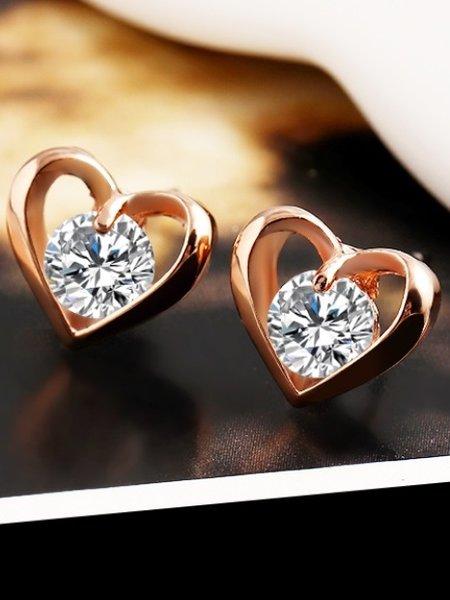 Мини обеци сърца с камък в златист и сребрист цвят
